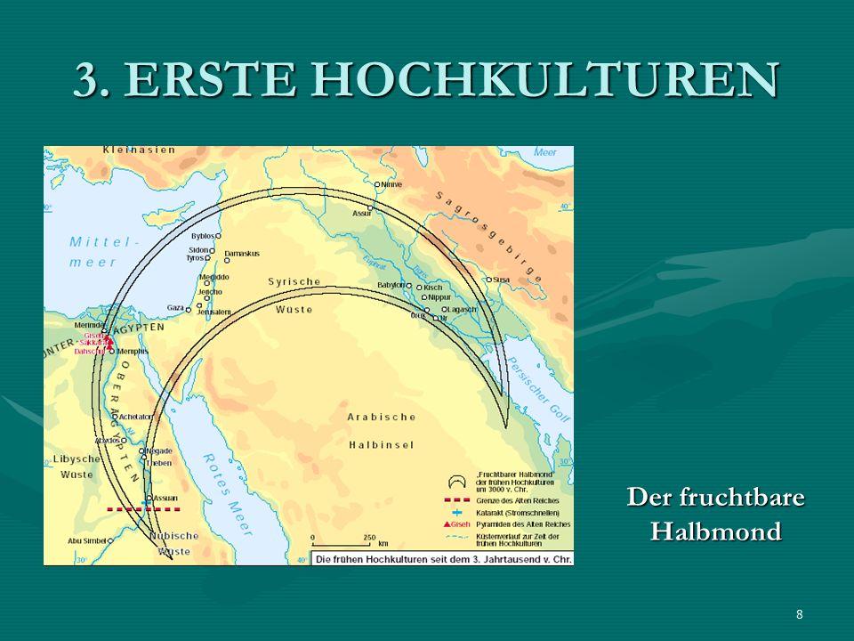 9 3.1 MESOPOTAMIEN = Land zwischen 2 Flüssen : Euphrat und Tigris (Steppenlandschaft – fruchtbar durch Überschwemmungen)= Land zwischen 2 Flüssen : Euphrat und Tigris (Steppenlandschaft – fruchtbar durch Überschwemmungen) um 3 000 v.