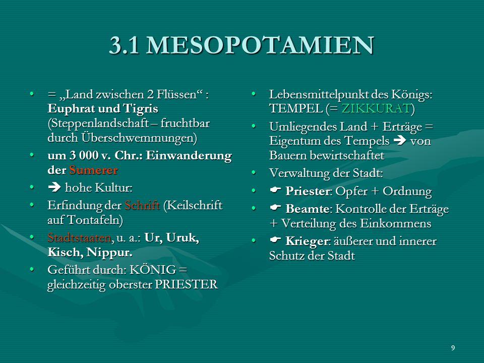 9 3.1 MESOPOTAMIEN = Land zwischen 2 Flüssen : Euphrat und Tigris (Steppenlandschaft – fruchtbar durch Überschwemmungen)= Land zwischen 2 Flüssen : Eu