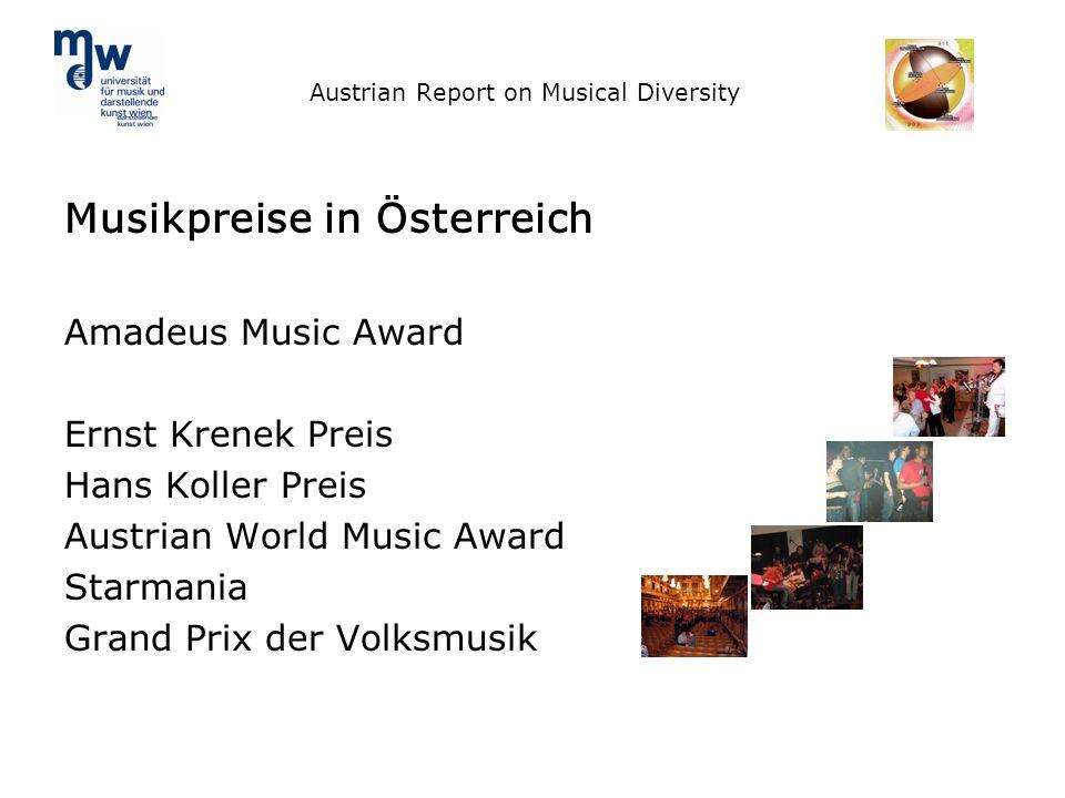 Austrian Report on Musical Diversity Musikpreise in Österreich Amadeus Music Award Ernst Krenek Preis Hans Koller Preis Austrian World Music Award Sta