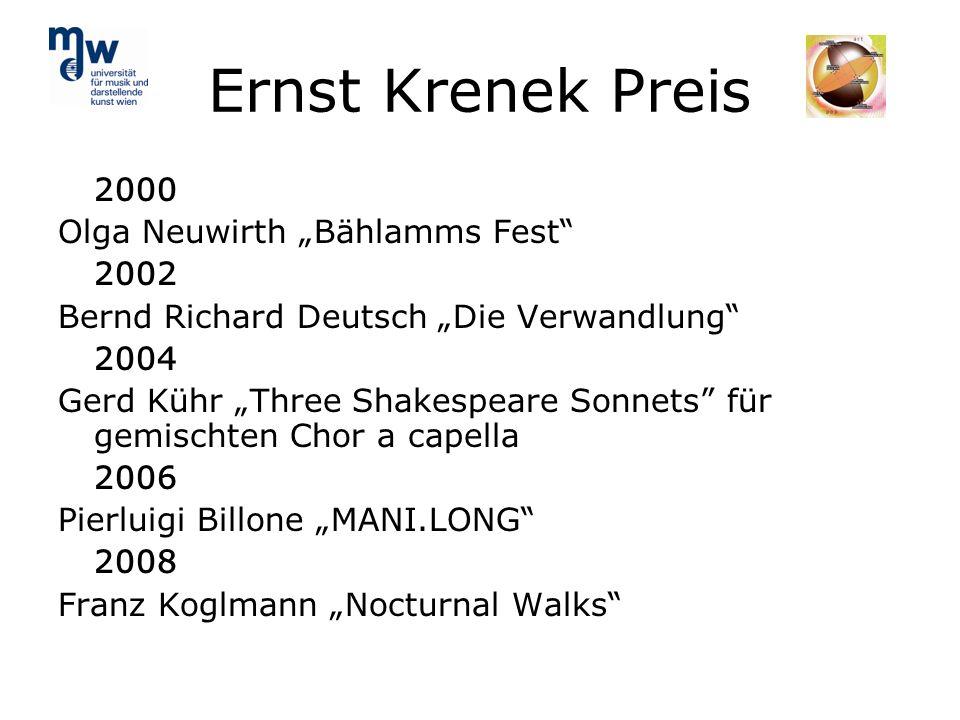 Ernst Krenek Preis 2000 Olga Neuwirth Bählamms Fest 2002 Bernd Richard Deutsch Die Verwandlung 2004 Gerd Kühr Three Shakespeare Sonnets für gemischten