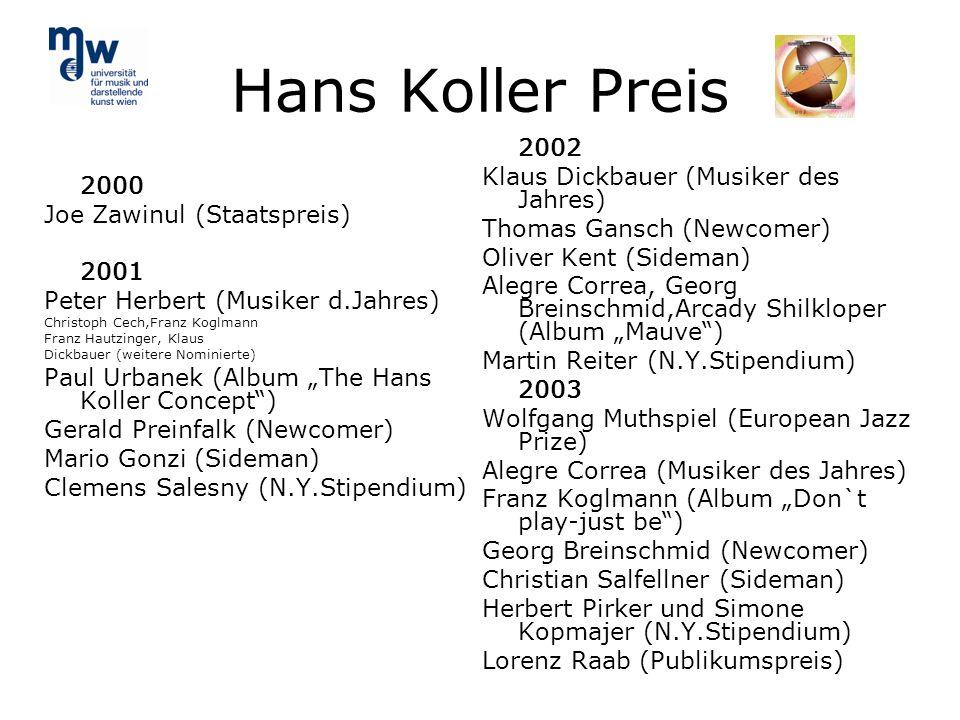 Hans Koller Preis 2000 Joe Zawinul (Staatspreis) 2001 Peter Herbert (Musiker d.Jahres) Christoph Cech,Franz Koglmann Franz Hautzinger, Klaus Dickbauer