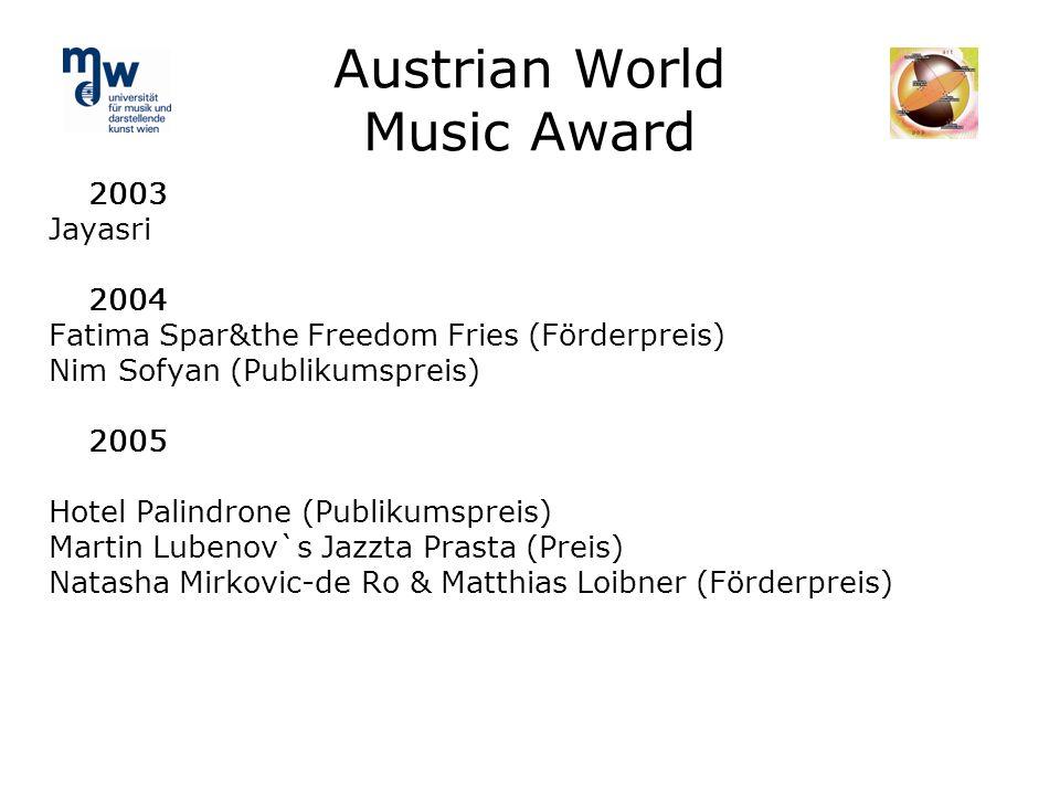 Austrian World Music Award 2003 Jayasri 2004 Fatima Spar&the Freedom Fries (Förderpreis) Nim Sofyan (Publikumspreis) 2005 Hotel Palindrone (Publikumsp