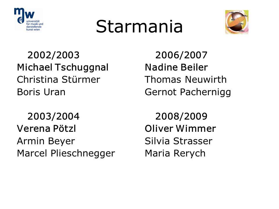 Starmania 2002/2003 Michael Tschuggnal Christina Stürmer Boris Uran 2003/2004 Verena Pötzl Armin Beyer Marcel Plieschnegger 2006/2007 Nadine Beiler Th