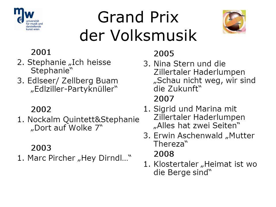 Grand Prix der Volksmusik 2001 2. Stephanie Ich heisse Stephanie 3. Edlseer/ Zellberg Buam Edlziller-Partyknüller 2002 1. Nockalm Quintett&Stephanie D