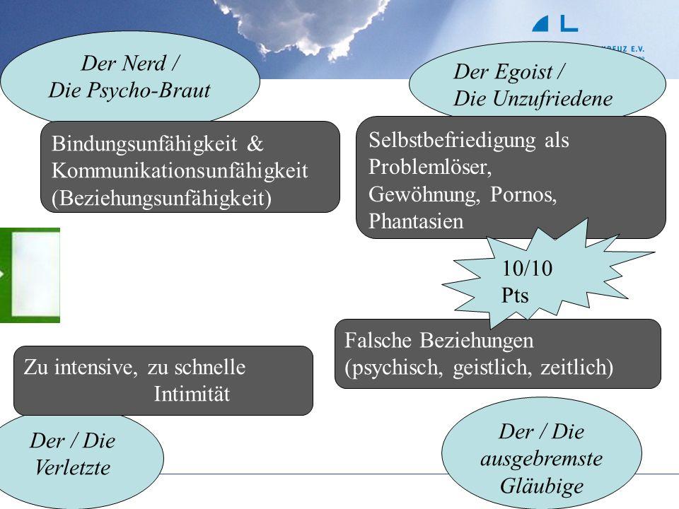 Der Nerd / Die Psycho-Braut Der Egoist / Die Unzufriedene Der / Die Verletzte Der / Die ausgebremste Gläubige Bindungsunfähigkeit & Kommunikationsunfä