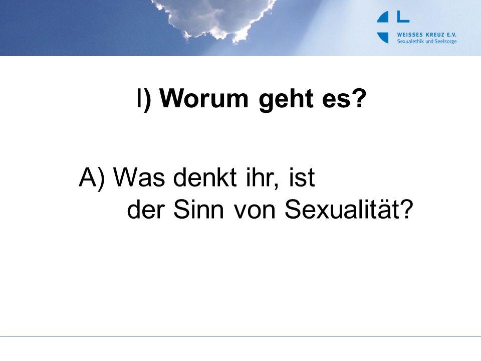 I) Worum geht es? A) Was denkt ihr, ist der Sinn von Sexualität?