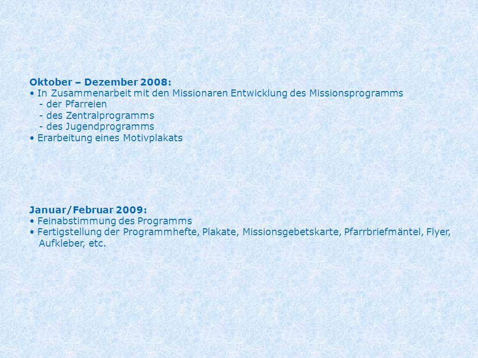 Oktober – Dezember 2008: In Zusammenarbeit mit den Missionaren Entwicklung des Missionsprogramms - der Pfarreien - des Zentralprogramms - des Jugendpr