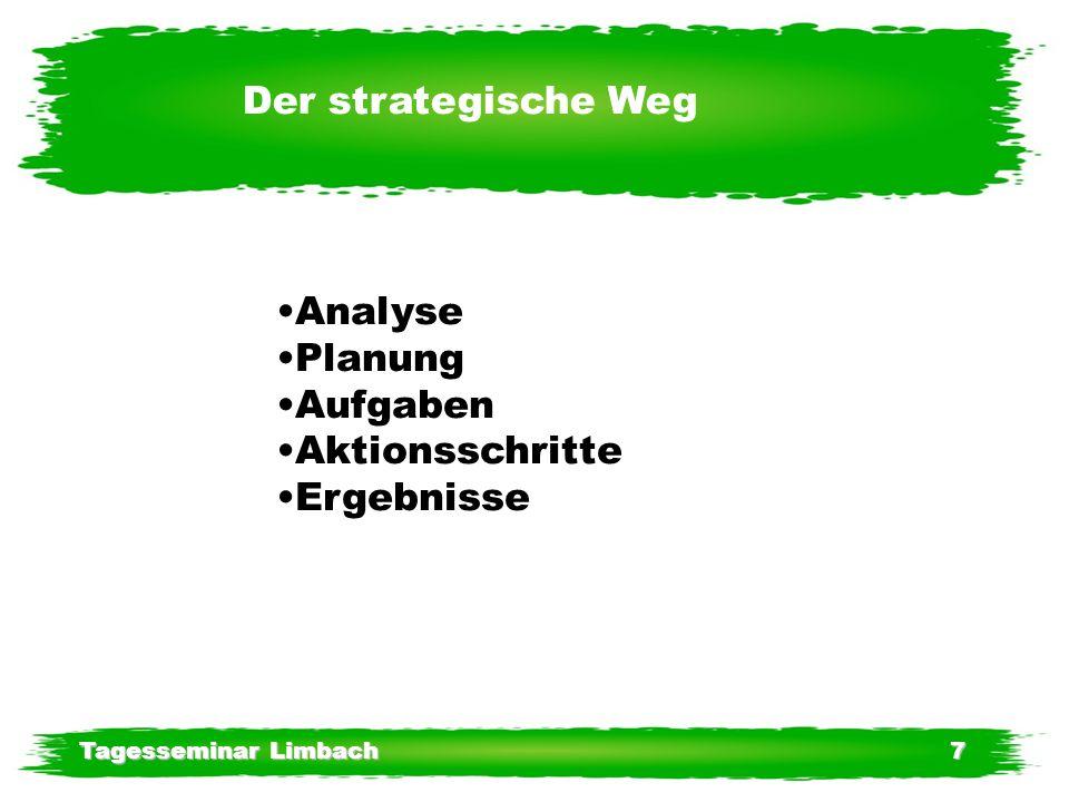 Tagesseminar Limbach7 Der strategische Weg Analyse Planung Aufgaben Aktionsschritte Ergebnisse