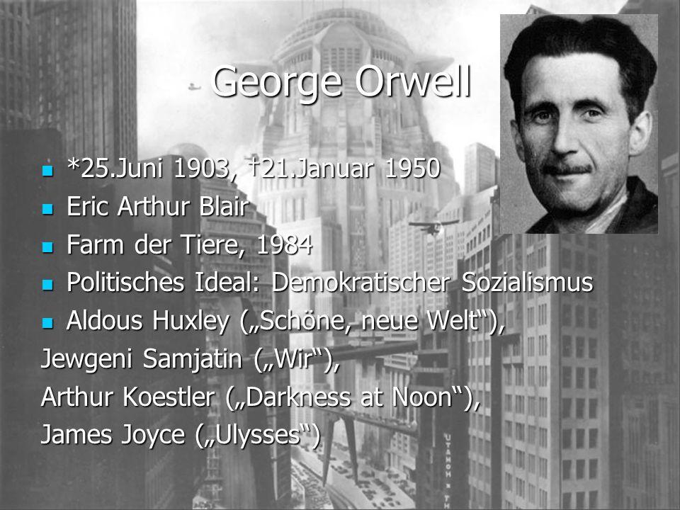 George Orwell *25.Juni 1903, 21.Januar 1950 *25.Juni 1903, 21.Januar 1950 Eric Arthur Blair Eric Arthur Blair Farm der Tiere, 1984 Farm der Tiere, 198