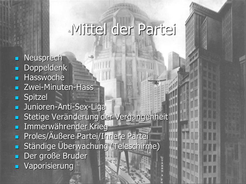 Die Ministerien Ministerium für Liebe (Minilieb) Ministerium für Liebe (Minilieb) Gedankenpolizei, Endstation für Kritiker; Ministerium für Überfülle (Minifülle) Ministerium für Überfülle (Minifülle) Wirtschaft, 3-Jahrespläne; Ministerium für Frieden (Minipax) Ministerium für Frieden (Minipax) Krieg, Kriegspropaganda; Ministerium für Wahrheit (Miniwahr) Ministerium für Wahrheit (Miniwahr) Anpassung (Veränderung) der Vergangenheit;