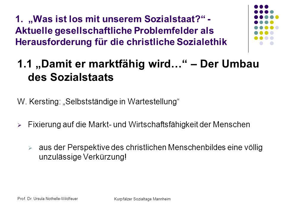 Prof. Dr. Ursula Nothelle-Wildfeuer Kurpfälzer Sozialtage Mannheim 1. Was ist los mit unserem Sozialstaat? - Aktuelle gesellschaftliche Problemfelder
