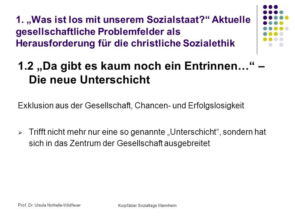 Prof. Dr. Ursula Nothelle-Wildfeuer Kurpfälzer Sozialtage Mannheim 1. Was ist los mit unserem Sozialstaat? Aktuelle gesellschaftliche Problemfelder al