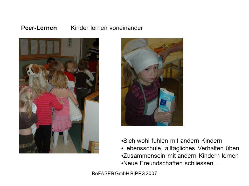 BeFASEB GmbH BIPPS 2007 Peer-Lernen Kinder lernen voneinander Sich wohl fühlen mit andern Kindern Lebensschule, alltägliches Verhalten üben Zusammense