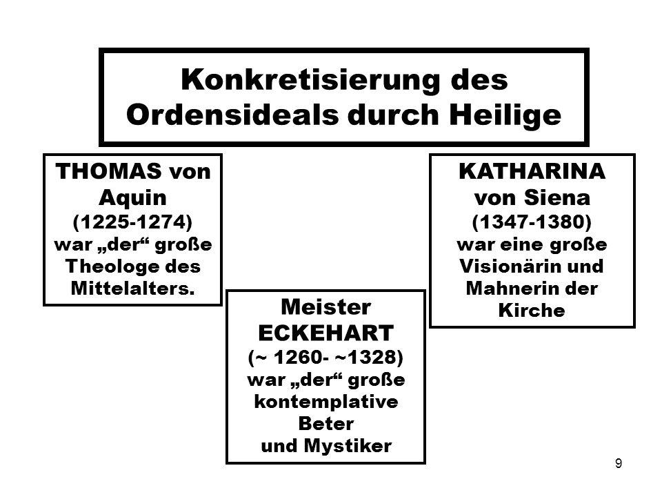 9 Konkretisierung des Ordensideals durch Heilige THOMAS von Aquin (1225-1274) war der große Theologe des Mittelalters. Meister ECKEHART (~ 1260- ~1328