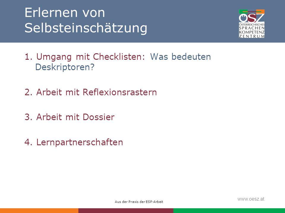 Aus der Praxis der ESP-Arbeit www.oesz.at Erlernen von Selbsteinschätzung 1. Umgang mit Checklisten: Was bedeuten Deskriptoren? 2. Arbeit mit Reflexio