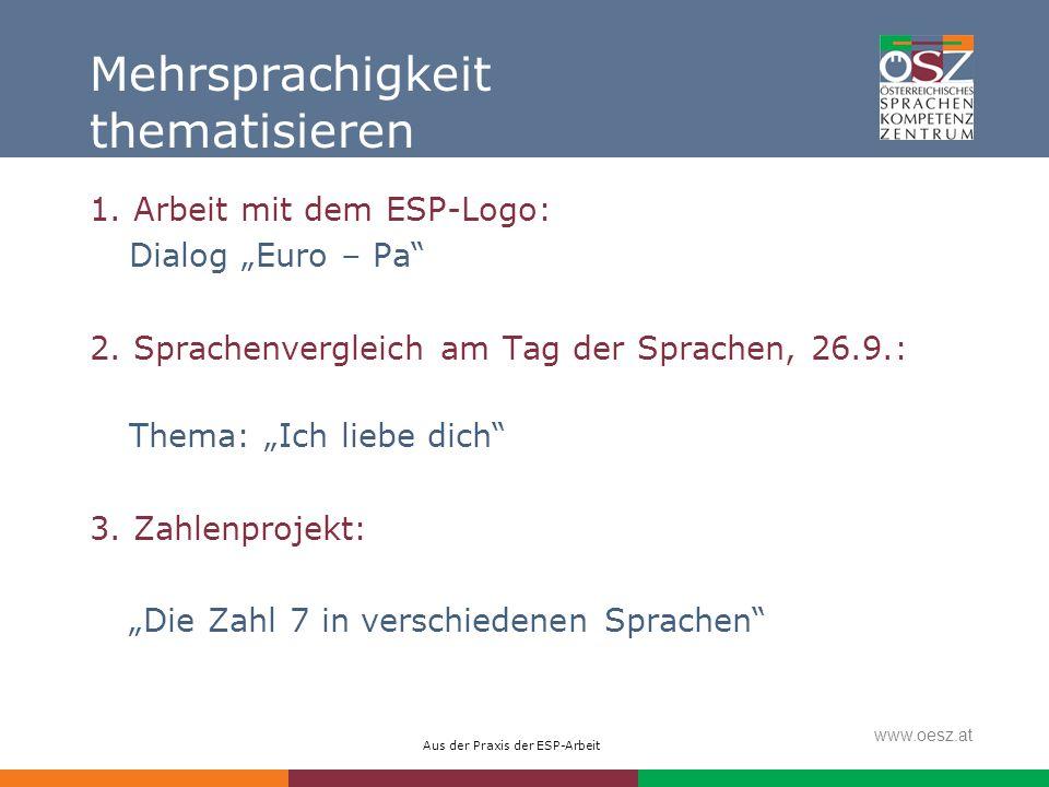 Aus der Praxis der ESP-Arbeit www.oesz.at Mehrsprachigkeit thematisieren 1. Arbeit mit dem ESP-Logo: Dialog Euro – Pa 2. Sprachenvergleich am Tag der