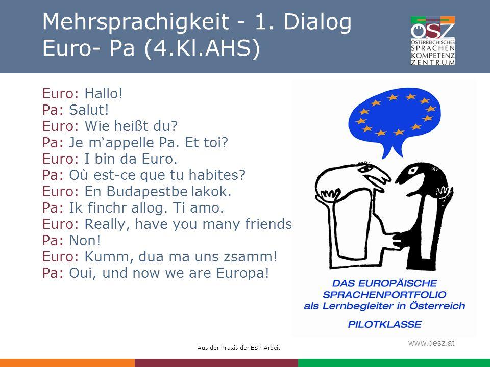 Aus der Praxis der ESP-Arbeit www.oesz.at Mehrsprachigkeit - 1. Dialog Euro- Pa (4.Kl.AHS) Euro: Hallo! Pa: Salut! Euro: Wie heißt du? Pa: Je mappelle
