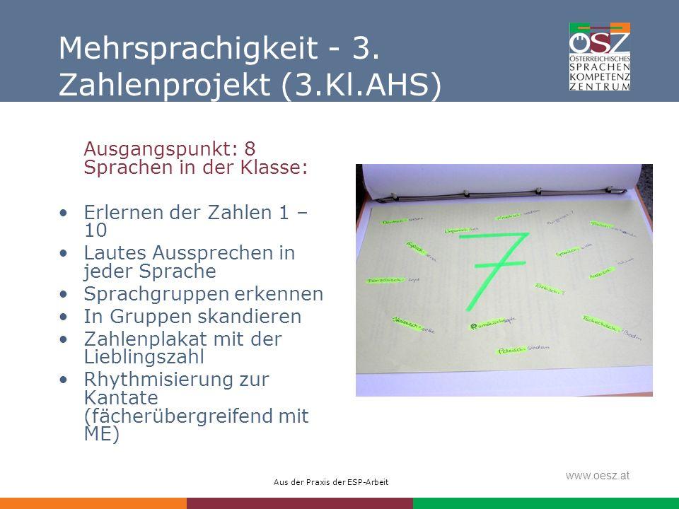 Aus der Praxis der ESP-Arbeit www.oesz.at Mehrsprachigkeit - 3. Zahlenprojekt (3.Kl.AHS) Ausgangspunkt: 8 Sprachen in der Klasse: Erlernen der Zahlen