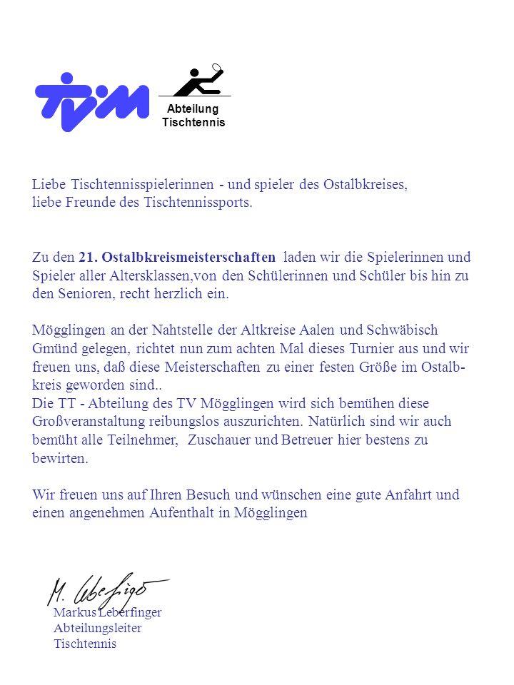 Veranstalter:Turnverein Mögglingen, Abteilung Tischtennis Austragungsort:Mackilohalle Mögglingen Heubacher Str.