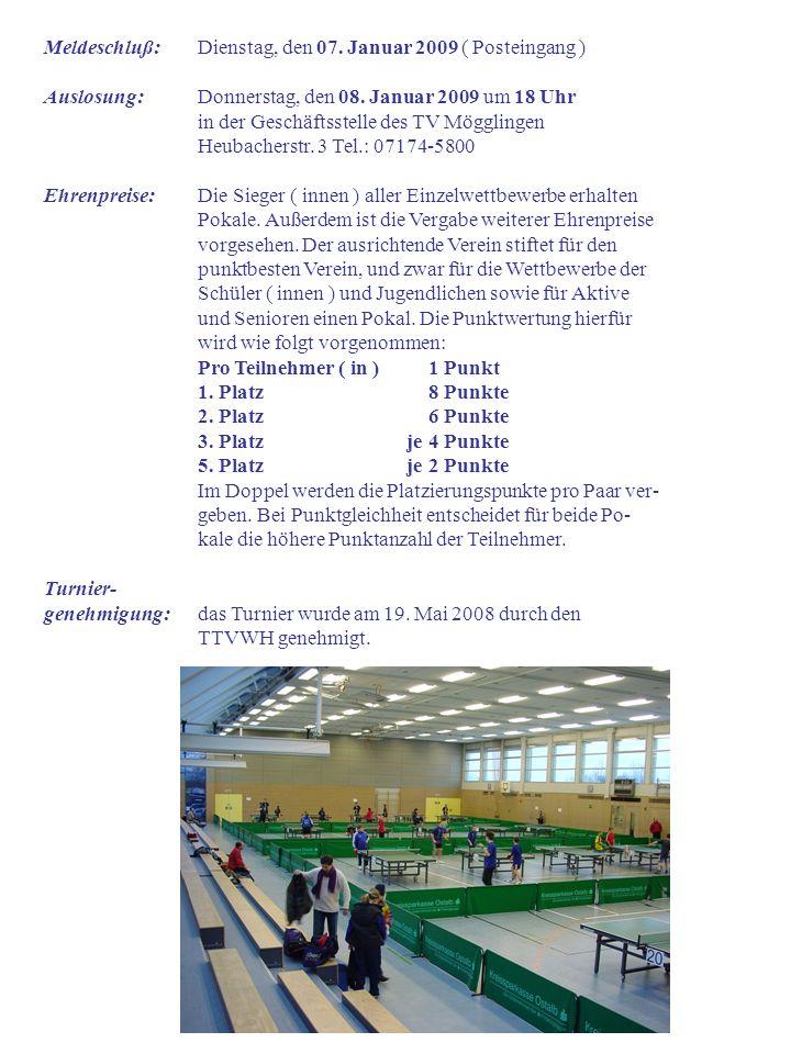Hinweise der Turnierleitung: Die Meldung verpflichtet zur Zahlung des Startgeldes Spiele bis zum Finale werden selbst gezählt An einem Turniertag darf nur in einer Turnierklasse gespielt werden.