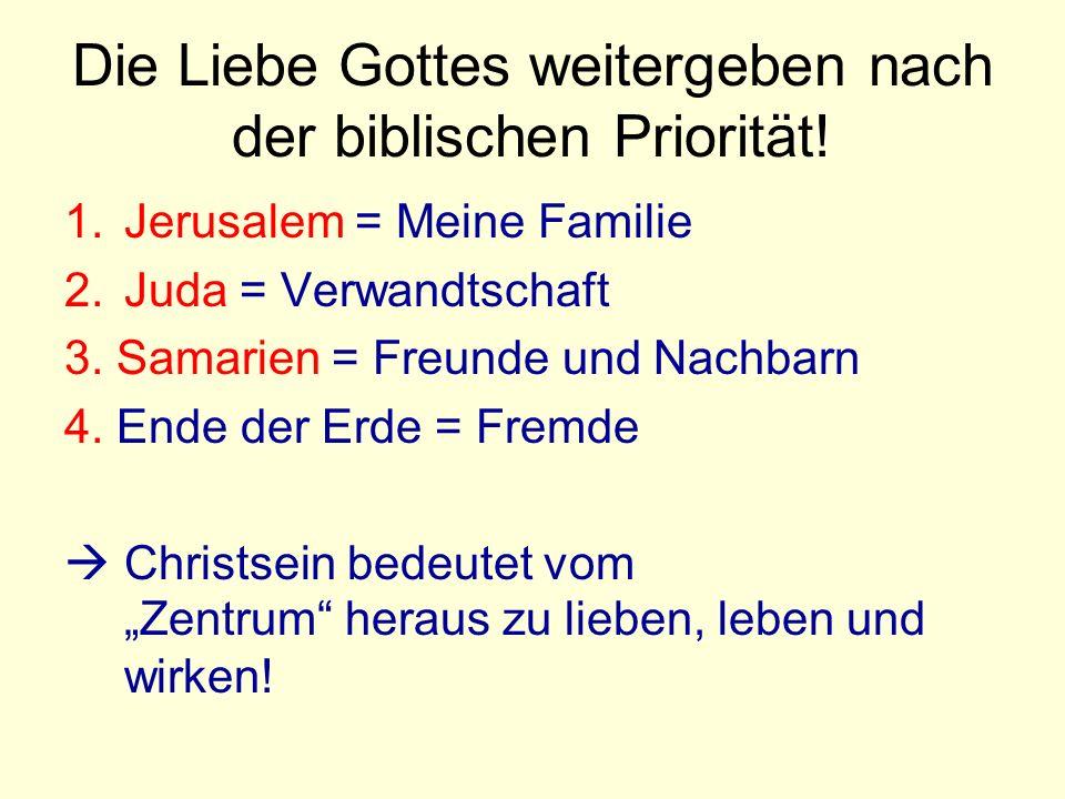 Die Liebe Gottes weitergeben nach der biblischen Priorität.