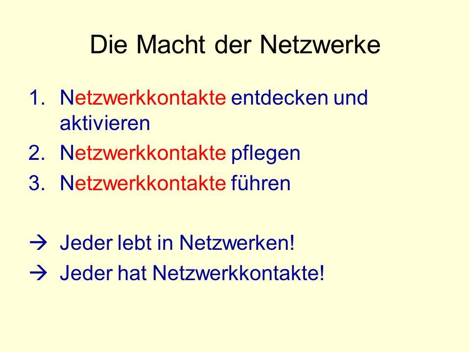 Die Macht der Netzwerke 1.Netzwerkkontakte entdecken und aktivieren 2.Netzwerkkontakte pflegen 3.Netzwerkkontakte führen Jeder lebt in Netzwerken.