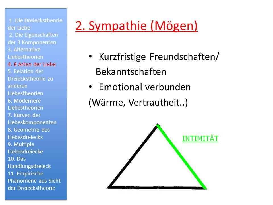 2. Sympathie (Mögen) Kurzfristige Freundschaften/ Bekanntschaften Emotional verbunden (Wärme, Vertrautheit..) 1. Die Dreieckstheorie der Liebe 2. Die