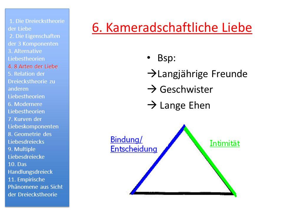 6. Kameradschaftliche Liebe Bsp: Langjährige Freunde Geschwister Lange Ehen 1. Die Dreieckstheorie der Liebe 2. Die Eigenschaften der 3 Komponenten 3.