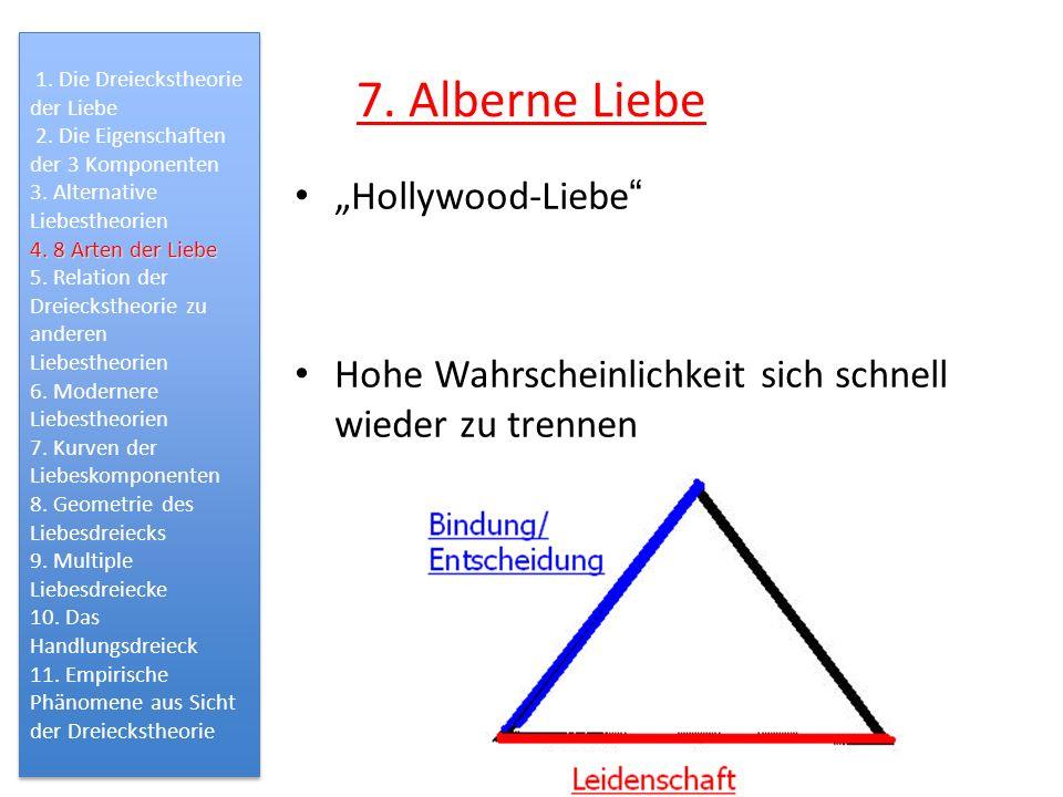 7. Alberne Liebe Hollywood-Liebe Hohe Wahrscheinlichkeit sich schnell wieder zu trennen 1. Die Dreieckstheorie der Liebe 2. Die Eigenschaften der 3 Ko