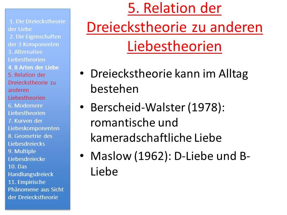 5. Relation der Dreieckstheorie zu anderen Liebestheorien Dreieckstheorie kann im Alltag bestehen Berscheid-Walster (1978): romantische und kameradsch