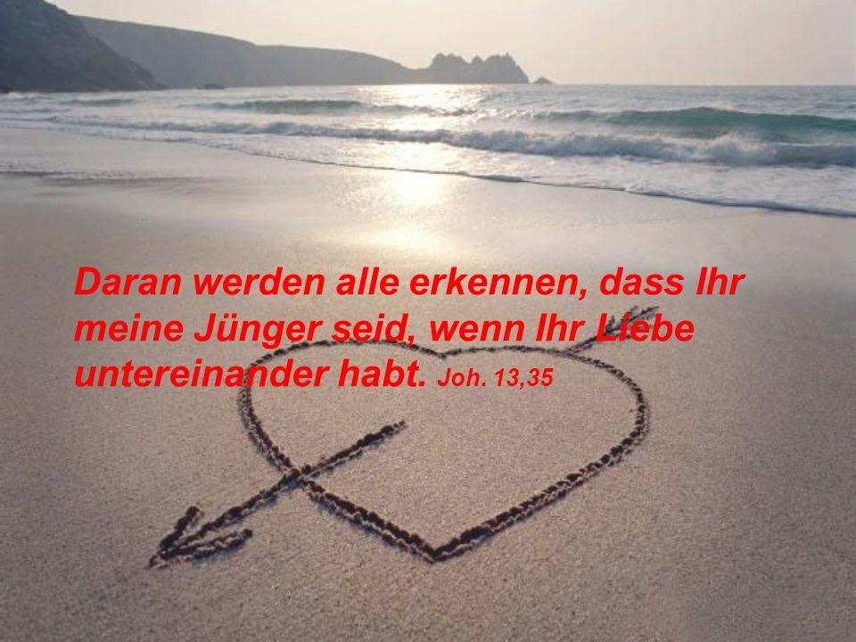 Daran werden alle erkennen, dass Ihr meine Jünger seid, wenn Ihr Liebe untereinander habt. Joh. 13,35