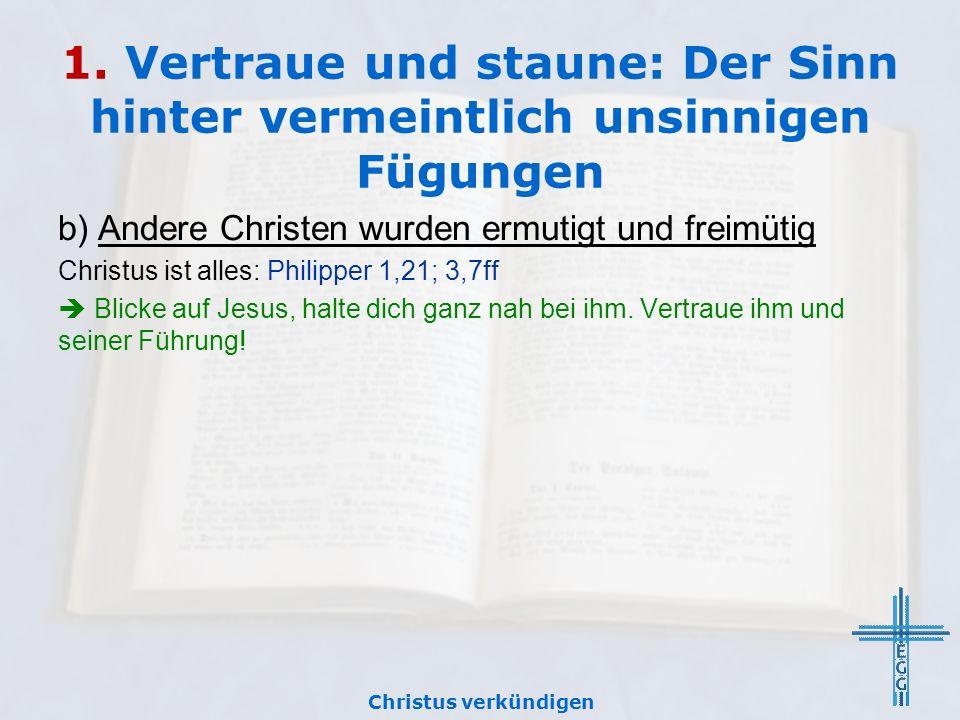 1. Vertraue und staune: Der Sinn hinter vermeintlich unsinnigen Fügungen b) Andere Christen wurden ermutigt und freimütig Christus ist alles: Philippe