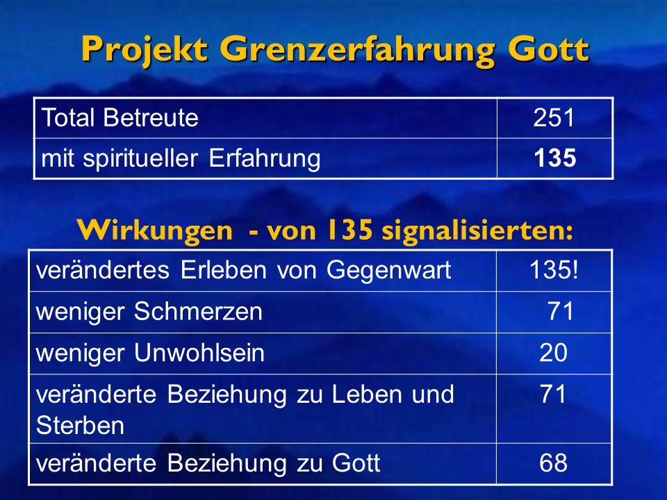 Projekt Grenzerfahrung Gott Total Betreute251 mit spiritueller Erfahrung135 verändertes Erleben von Gegenwart135! weniger Schmerzen 71 weniger Unwohls
