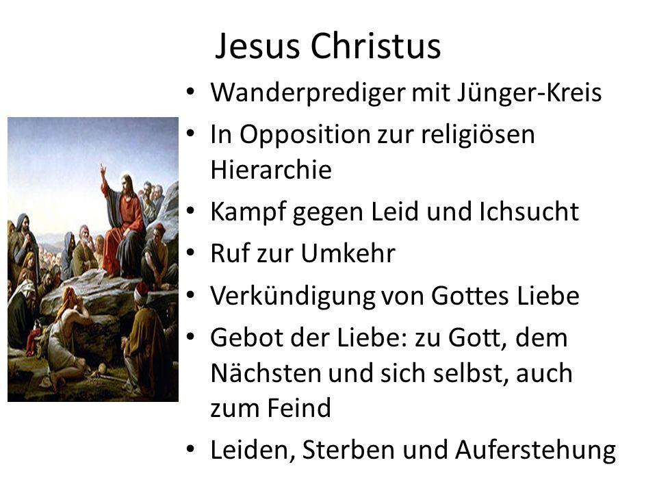 Jesus Christus (2) Ganz Mensch und ganz Gott Erleuchteter und selber Licht Hat sich aus Liebe zu den Menschen dahingegeben um sie von ihrem sündigen Ich zu befreien und ihnen ein neues Leben zu schenken Ist auferstanden und lebt mit den Menschen