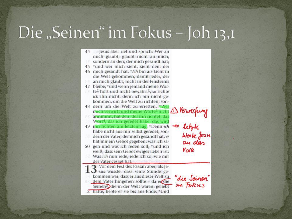 DonnerstagMatthäusMarkusLukasJohannes Vorbereitung Passahfest +++- Streit der Jünger +++- Passahmahl++++ Fußwaschung---13,1-20 Judas26,21-2514,18-2122,21-2313,21-30 Petrus26,31-3514,27-3122,31-3813,36-38 Einsetzung Mahl d.