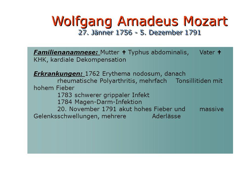 Familienanamnese: Mutter Typhus abdominalis, Vater KHK, kardiale Dekompensation Erkrankungen: 1762 Erythema nodosum, danach rheumatische Polyarthritis