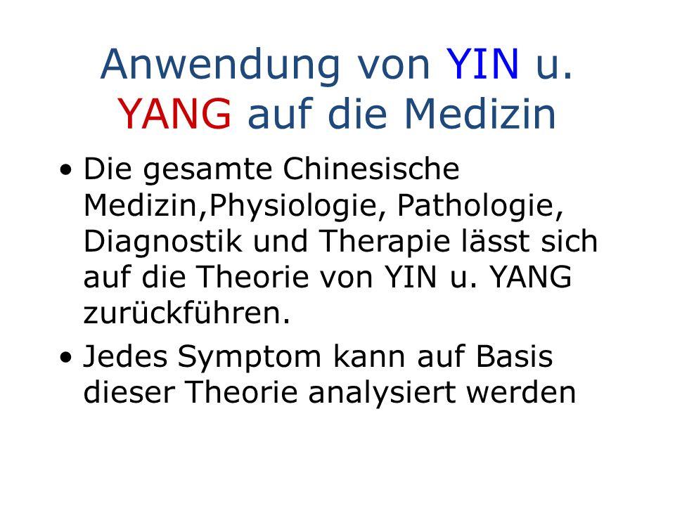 Anwendung von YIN u. YANG auf die Medizin Die gesamte Chinesische Medizin,Physiologie, Pathologie, Diagnostik und Therapie lässt sich auf die Theorie