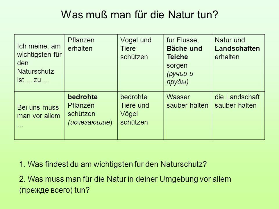 Was muß man für die Natur tun? Ich meine, am wichtigsten für den Naturschutz ist... zu... Pflanzen erhalten Vögel und Tiere schützen für Flüsse, Bäche