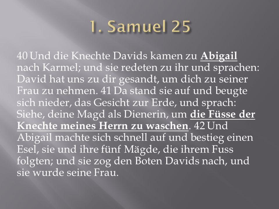 40 Und die Knechte Davids kamen zu Abigail nach Karmel; und sie redeten zu ihr und sprachen: David hat uns zu dir gesandt, um dich zu seiner Frau zu n