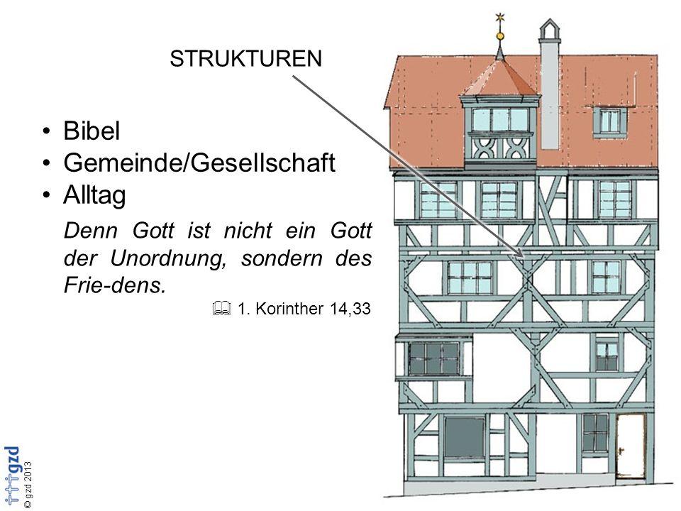 © gzd 2013 STRUKTUREN Bibel Gemeinde/Gesellschaft Alltag Denn Gott ist nicht ein Gott der Unordnung, sondern des Frie-dens.