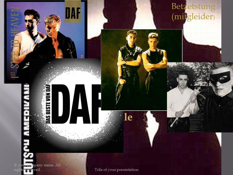 Albums: Ein Produkt der Deutsch-Amerikanischen Freundschaft (1979), Die Kleinen und die Bösen (1980), Alles ist gut (1981), Gold und Liebe (1981), Für Immer (1982), Live in Berlin 1980 (1983), 1st Step to Heaven (1986), Best of DAF (1988), Hitz-Blitz (US-Compilation für die Jahre 1986–1987) (1989), Fünfzehn neue DAF-Lieder (2003), Das Beste von DAF (2009) Singles: Kebab-Träume (1980),Ich und die Wirklichkeit (1980), Der Räuber und der Prinz (1981), Voulez-Vous Coucher Avec Moi.