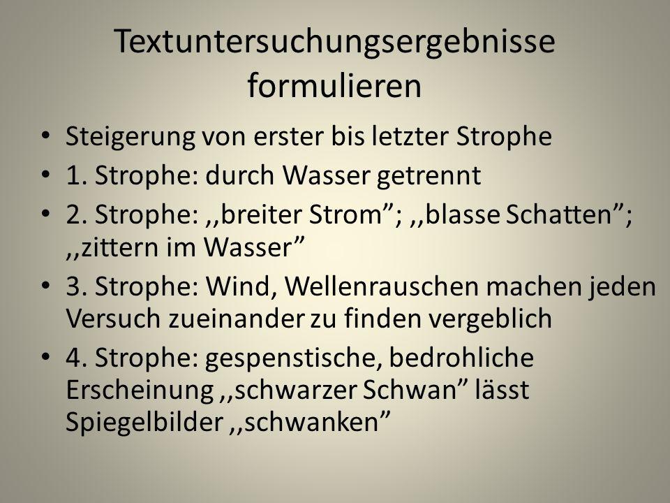 Textuntersuchungsergebnisse formulieren Steigerung von erster bis letzter Strophe 1. Strophe: durch Wasser getrennt 2. Strophe:,,breiter Strom;,,blass