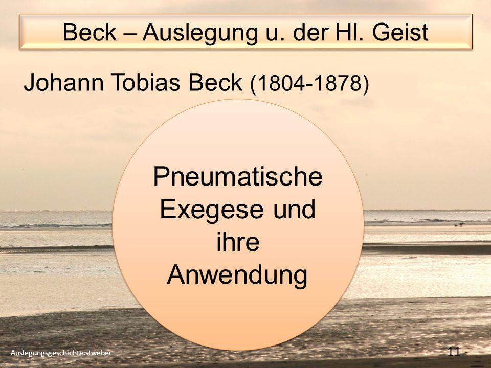 Beck – Auslegung u.der Hl.