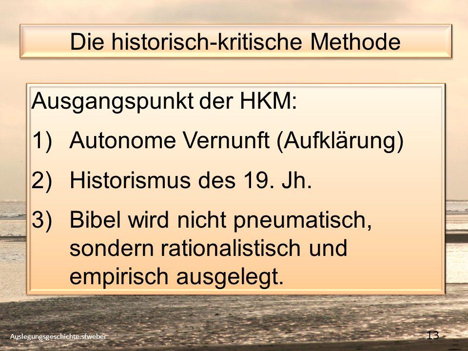 Die historisch-kritische Methode Auslegungsgeschichte.sfweber 13 Ausgangspunkt der HKM: 1)Autonome Vernunft (Aufklärung) 2)Historismus des 19.