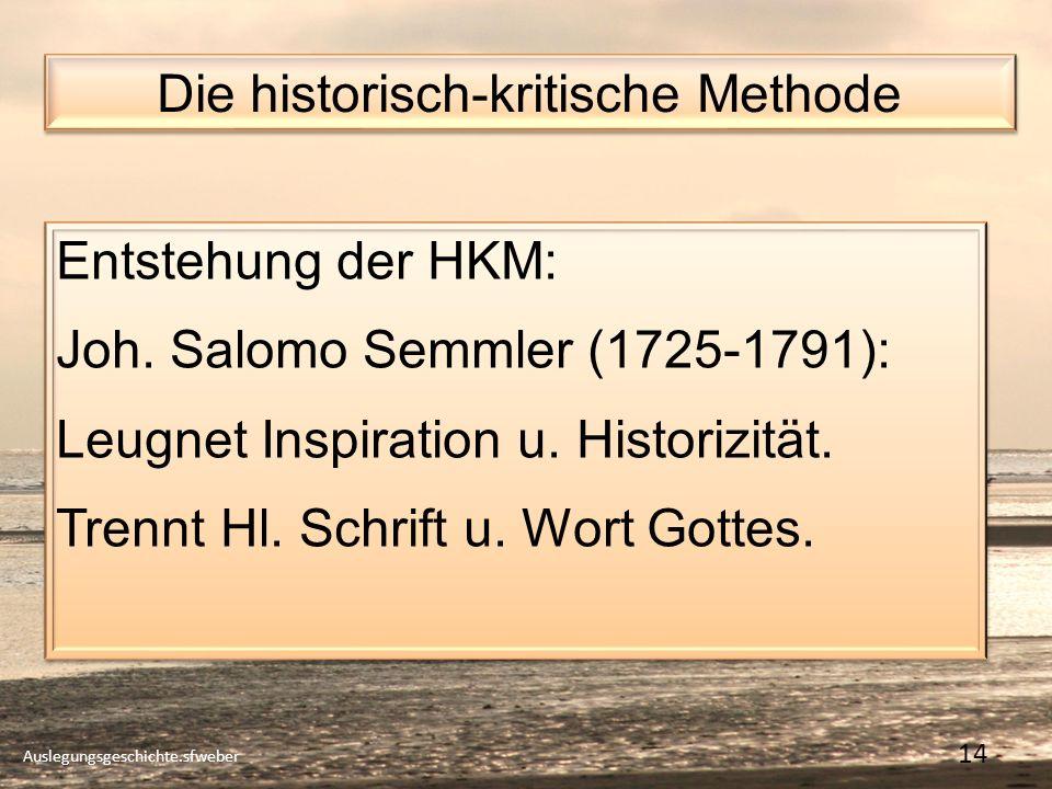 Die historisch-kritische Methode Auslegungsgeschichte.sfweber 14 Entstehung der HKM: Joh.