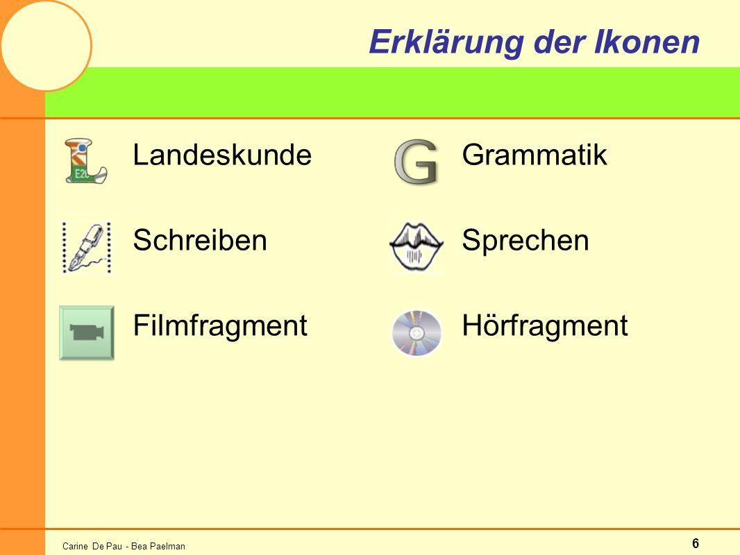 Carine De Pau - Bea Paelman 6 Erklärung der Ikonen Landeskunde Schreiben Filmfragment Grammatik Sprechen Hörfragment