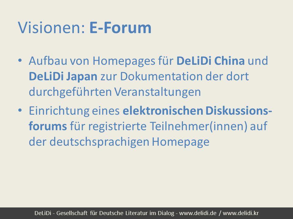 DeLiDi - Gesellschaft für Deutsche Literatur im Dialog - www.delidi.de / www.delidi.kr Visionen: E-Forum Aufbau von Homepages für DeLiDi China und DeL