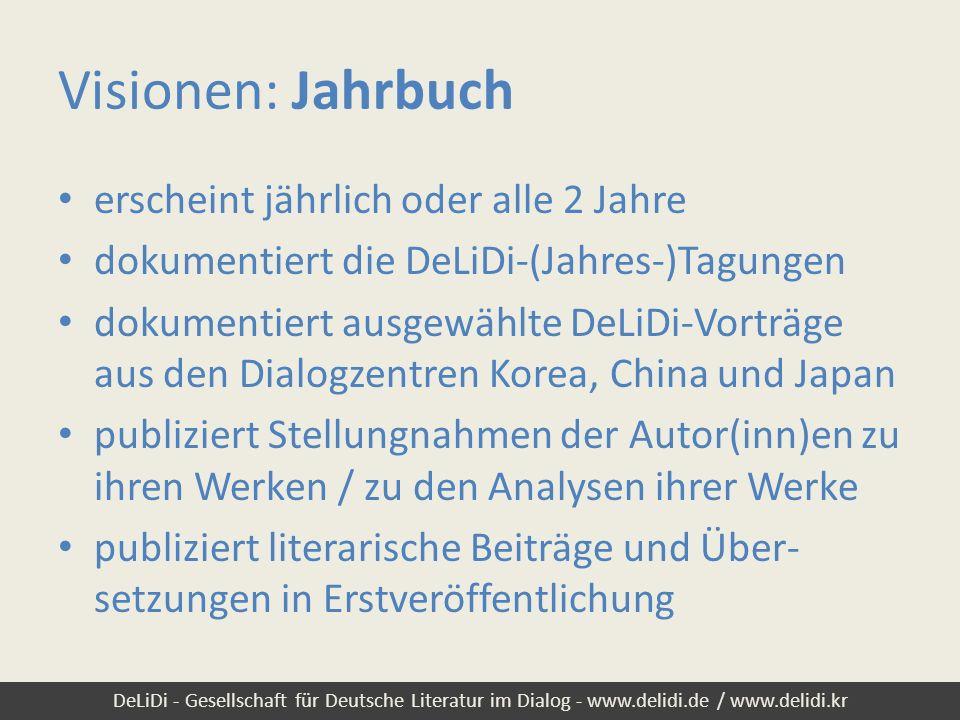 DeLiDi - Gesellschaft für Deutsche Literatur im Dialog - www.delidi.de / www.delidi.kr Visionen: Jahrbuch erscheint jährlich oder alle 2 Jahre dokumen