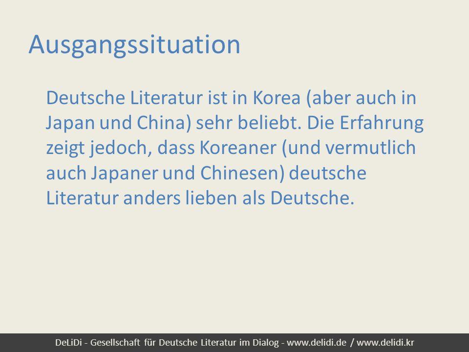 DeLiDi - Gesellschaft für Deutsche Literatur im Dialog - www.delidi.de / www.delidi.kr Ausgangssituation Deutsche Literatur ist in Korea (aber auch in