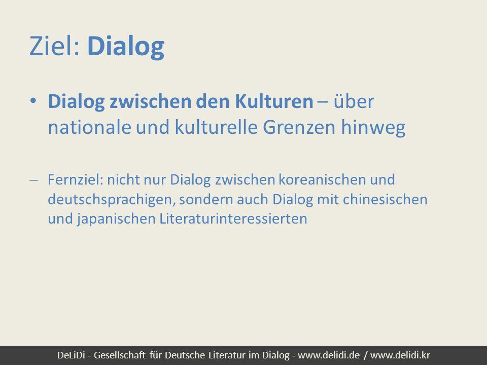 DeLiDi - Gesellschaft für Deutsche Literatur im Dialog - www.delidi.de / www.delidi.kr Visionen: (Jahres-)Tagungen Tagungsrhythmus: 1-mal pro Jahr / alle 2 Jahre Tagungsort: reihum in Korea, China und Japan (längerfristig evt.